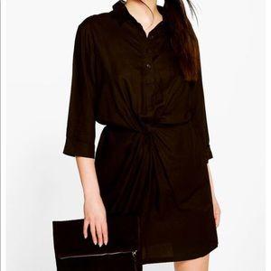 Black Ella Twisted Boohoo Shirt Dress
